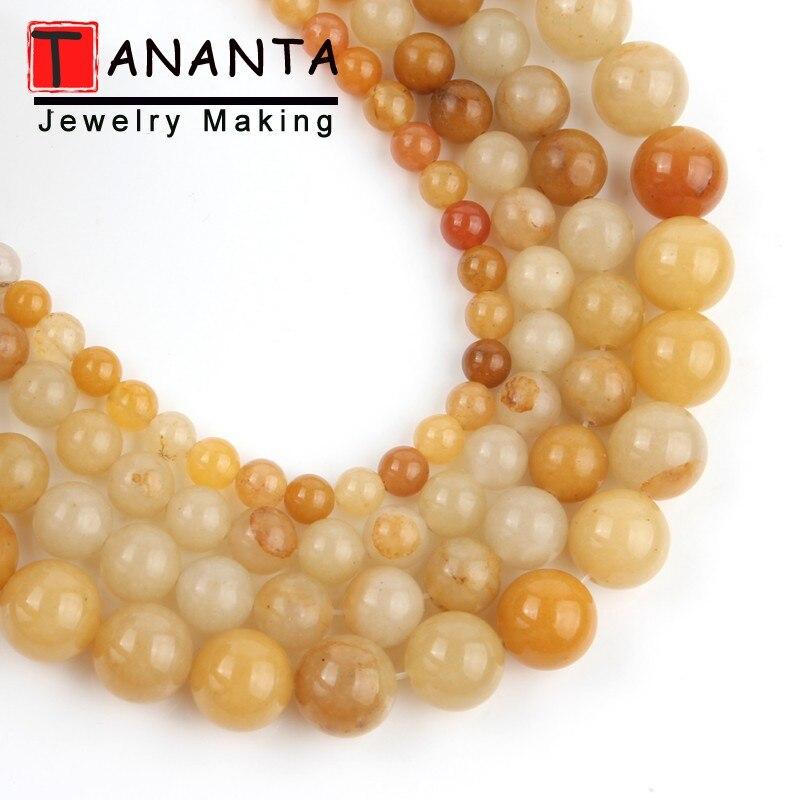Cuentas de piedra Natural, Jades amarillos lisos 4/6/8/10/12mm, cuentas redondas sueltas para fabricación de joyería, accesorios para pulseras DIY de 15