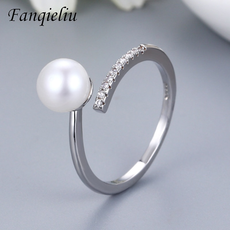 Fanqieliu Real 925 Sterling Silver Ring For Women Pearl Crystals Adjustable Wedding Bands FQL21158