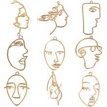 10 pièces tempérament abstrait visage humain creux breloques or pour pendentif colliers bijoux résultats boucles doreilles composant