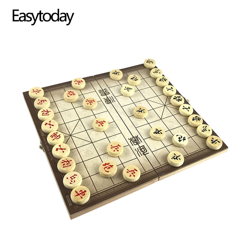Easytoday Traditional Chinese Chess Pieces Wooden Games Set Soild Wood Portable Folding Chess Board High Quality Game Gift