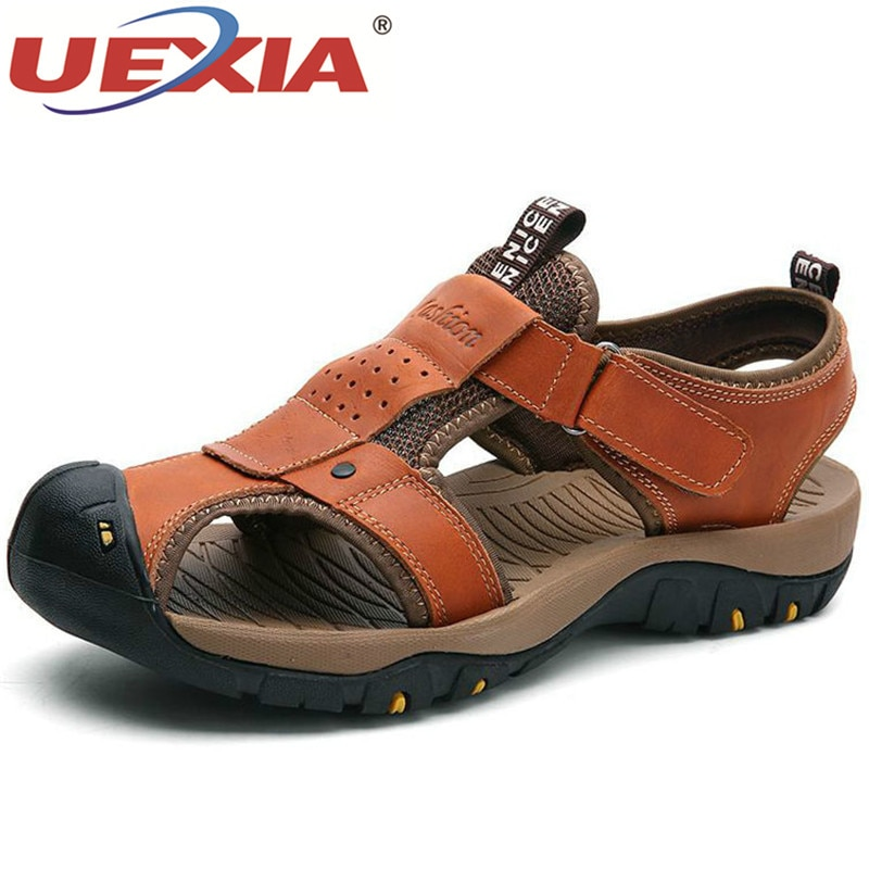 UEXIA hecho a mano de gran tamaño para hombre sandalias de verano para exteriores zapatos casuales de cuero para hombre sandalias de playa de estilo romano zapatos de verano de marca 38-46
