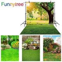 Funnytree אביב רקע ירוק עץ שמש טבע פרחי פסחא תינוק מקלחת יילוד תמונה סטודיו צילום רקע שיחת וידאו
