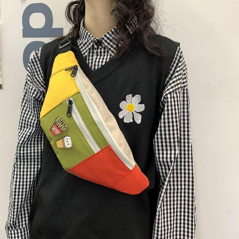 2020 neue Mädchen Brust Tasche Koreanische Stil Crossbody Kleine Beutel Geschenk Bauchtasche Schulter Pack Einfache Geld Fanny Pack Patchwork Taille beg