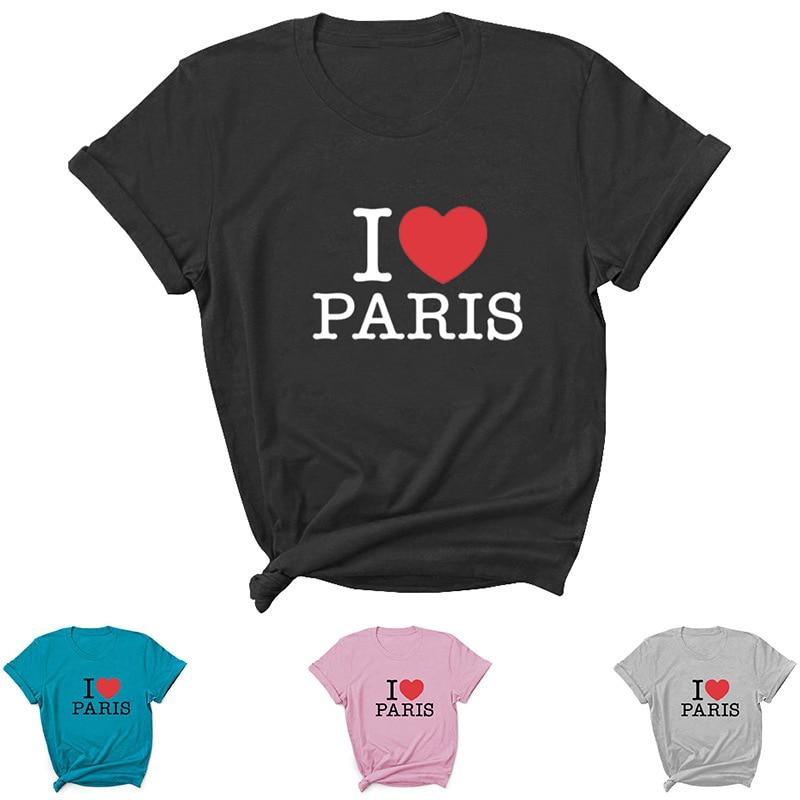 Camiseta con estampado de letras I Love Paris para Mujer, blusa holgada...