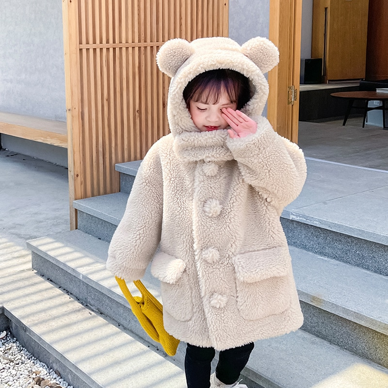 Winter Warm Girls Fleece Jacket Hooded Windproof Kids Coats Outdoor Fashion Children Outwear Long Thick Teenage Girl Windbreaker enlarge