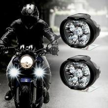 2pcs 6 LED faro per moto faretti bianchi veicolo elettrico scooter lampada lampadine ausiliarie modificate ad alta luminosità