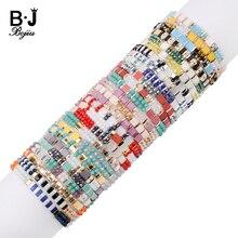 BOJIU 27 Farben Boho Angepasst Armbänder Für Frauen Schmuck Gold Webstuhl Japan Miyuki Delica Tila Perlen Armband Sommer Strand BC354