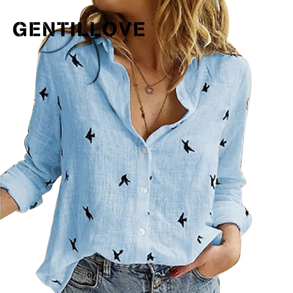 Casual Long Sleeve Birds Print Loose Shirts Women Cotton and Linen Blouses and Tops Vintage Streetwe