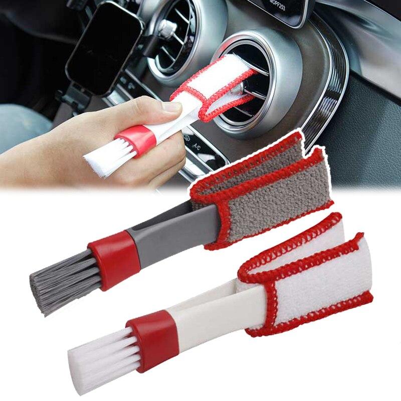 Щетка из микрофибры для вентиляционного отверстия автомобильного кондиционера, инструменты для очистки автомобильного детейлинга, двухст...