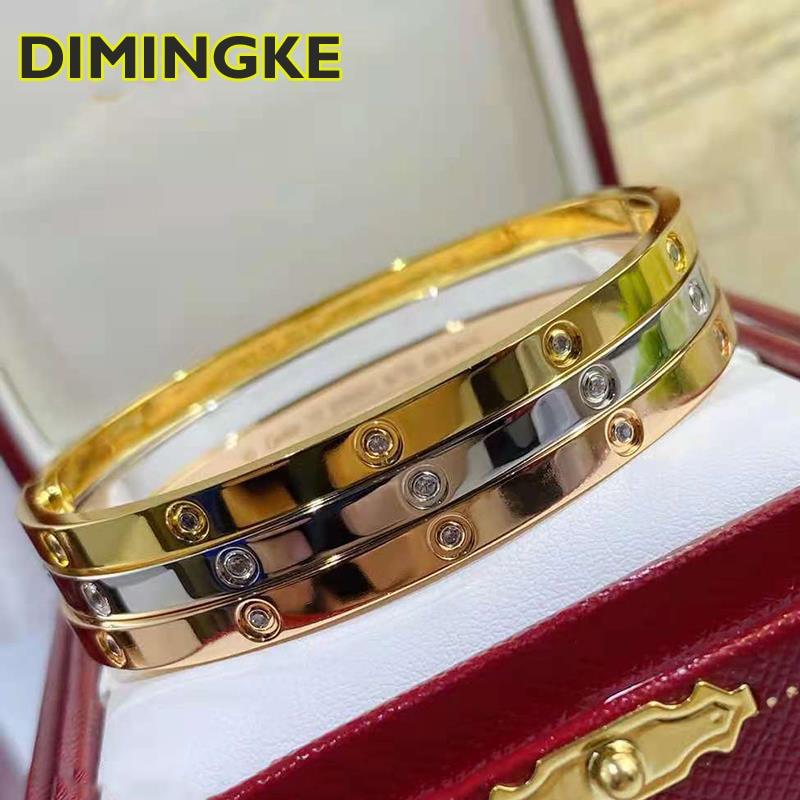 Promo DIMINGKE S925 Sterling Silver 18K Gold Bracelet 17CM Fine Jewelry Fashion Woman Party