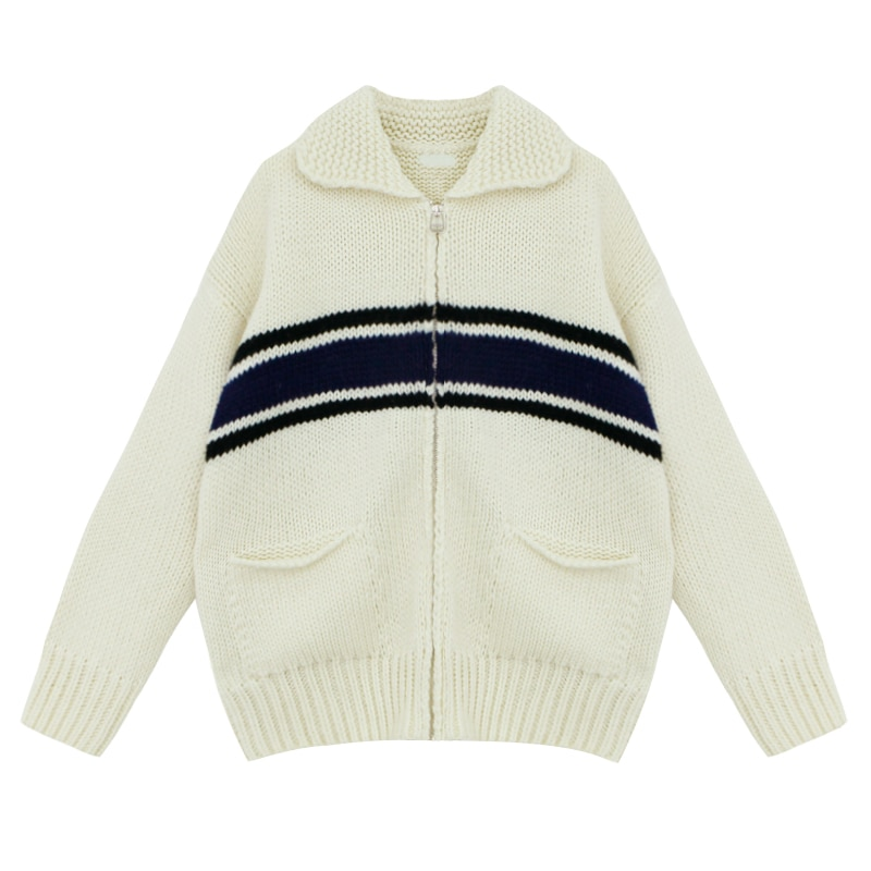 2 Colors 2020 autumn and winter korean style turn down collar stripe zipper thick knittd cardigans womens sweaters womens00359