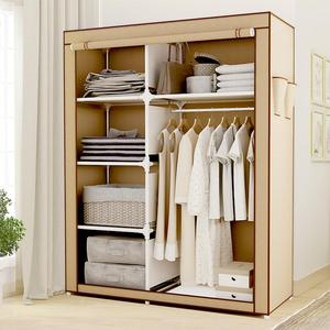 Portable Clothes Storage Closet Double Wardrobe Organizer with Rack Shelves