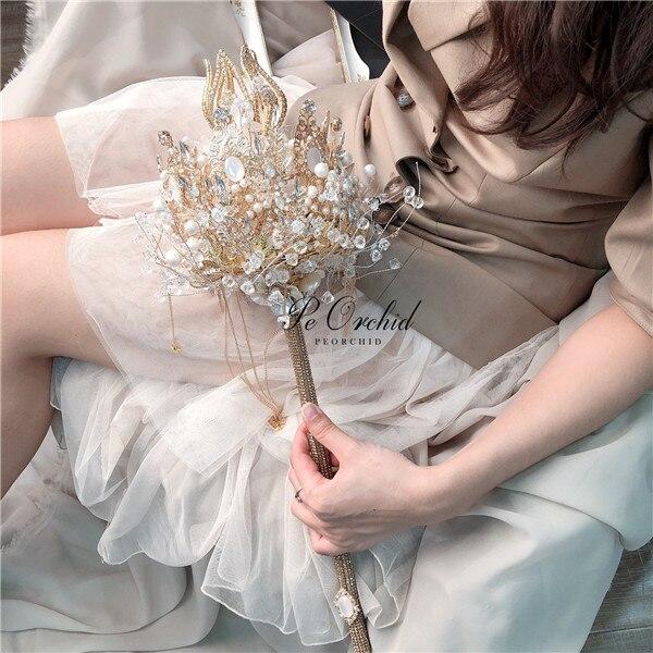 باقة الزفاف الفاخرة المصنوعة يدويًا من الكريستال ، زهور الزفاف ، اللؤلؤ الاصطناعي ، أحجار الراين ، باقة الزفاف المخصصة