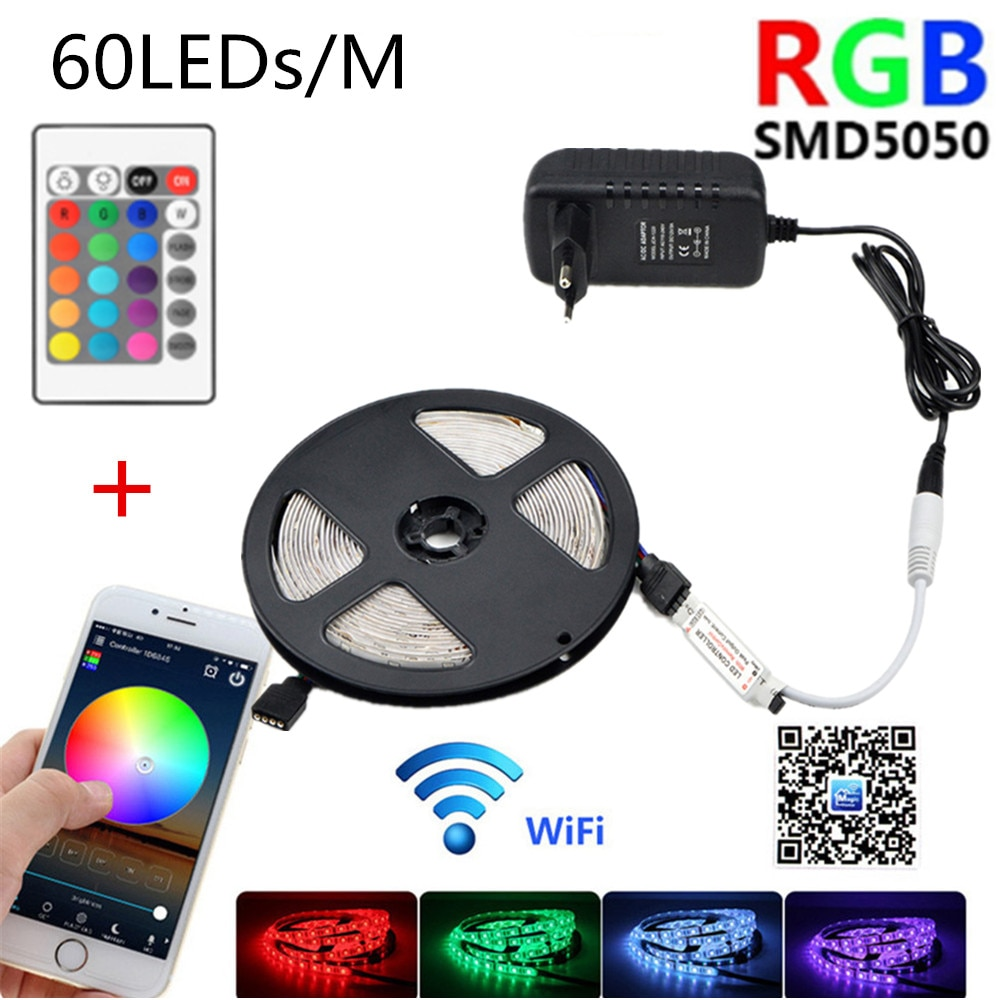 WIFI led strip light 12V luces led SMD 5050 RGB lights waterproof tape neon lamp With 24 key 60LEDs/m tv Party EU AU US UK plug