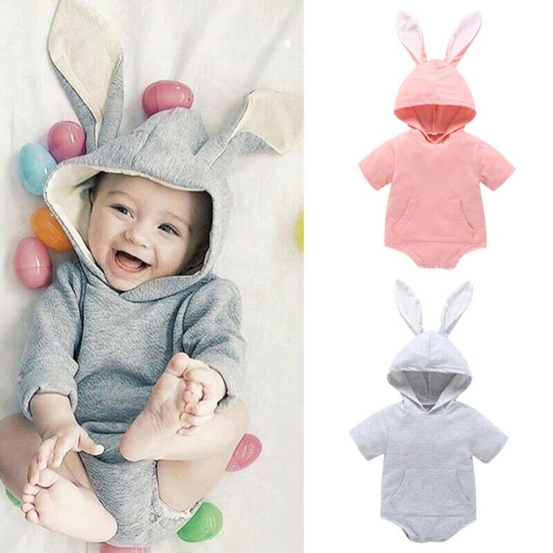 1 ° páscoa infantil do bebê da menina menino coelho com capuz macacão corpo terno roupas do bebê criança roupas de verão roupas