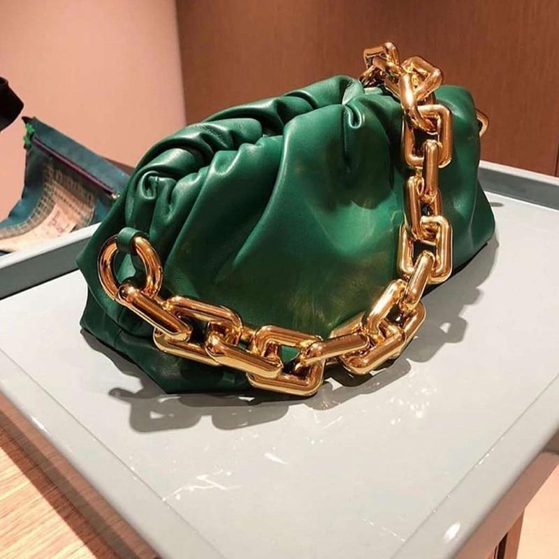 Gold Chain Women Handbag Soft Leather Hobos Bag Single Shoulder Purse Women Crossbody Bag and Handbags Clutch