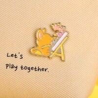 japan and south korea cute art cartoon fox brooch sweet and cute art small animal metal enamel badge backpack pin accessories