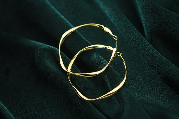Authentische 925 Sterling silber Mobius Welle Große ohrringe Geometrische Band Huggie Ohrringe schmuck TLE815
