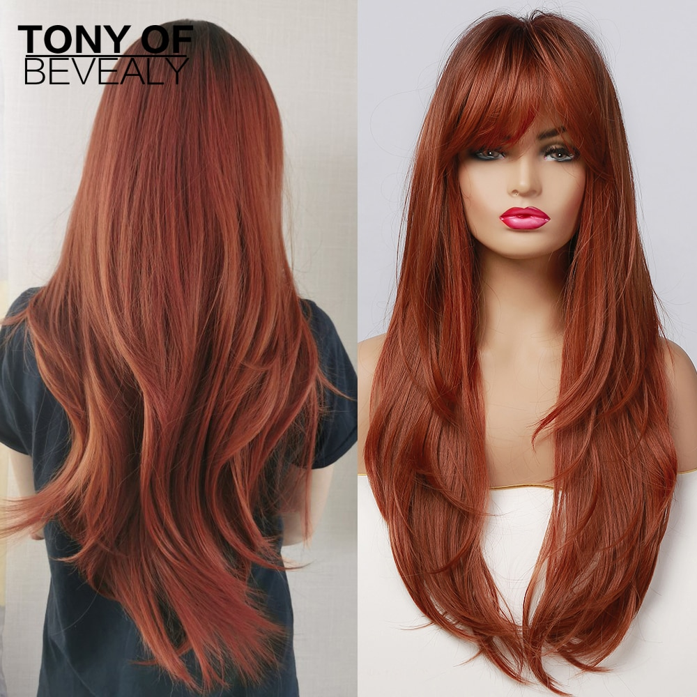 Long Straight Red Brown Synthetic Hair Wigs with Bangs for Afro Women Heat Resistant Fiber Dark Root Natural Fluffy Wigs