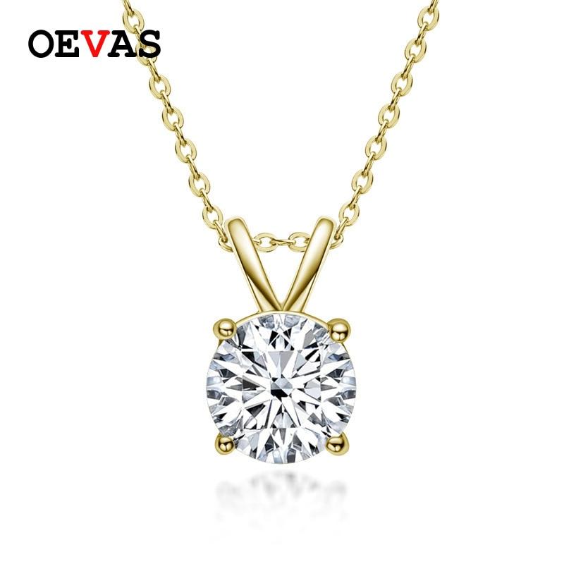OEVAS-قلادة المويسانتي من الفضة الإسترليني عيار 100% ، قلادة ، سلسلة ربط ، لون D ، 925 فضة استرلينية ، متألقة ، 1 قيراط ، للنساء