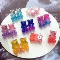 bear gummy stud earrings cute childlike girl colored candy series sweet simple exquisite earrings travel party jewelry gifts