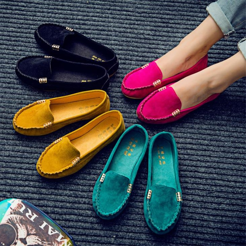 2020 New Women Casual Flat Shoes Spring Autumn Flat Loafer Women Shoes Slips Soft Round Toe Denim Flats Jeans Shoes Plus Size