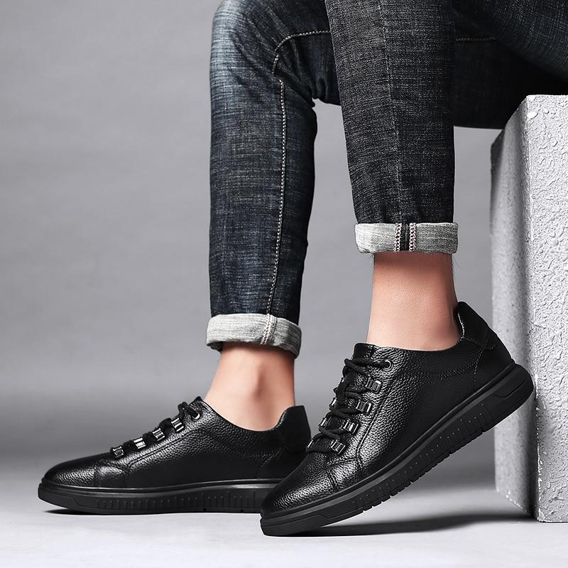Men Genuine Leather Shoes outdoor Lace-Up Black Shoe Real Leather oxfords Mens Moccasins Italian Designer Flats Shoes men