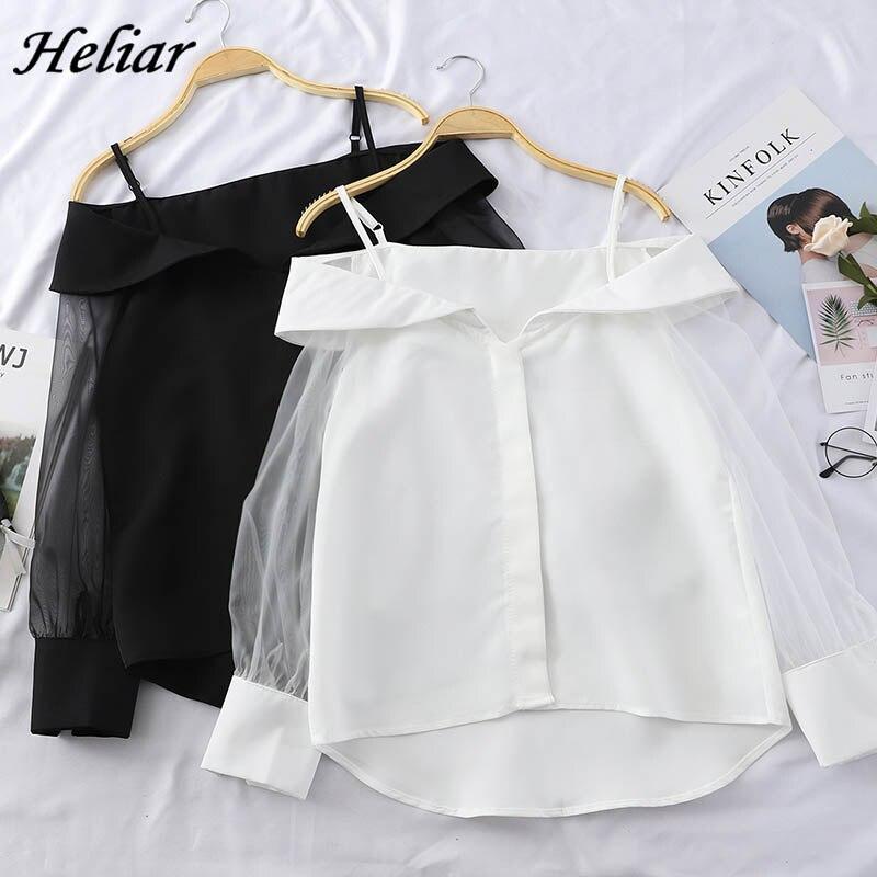 Женская блузка HELIAR, прозрачная блузка из органзы с открытыми плечами на лето 2020