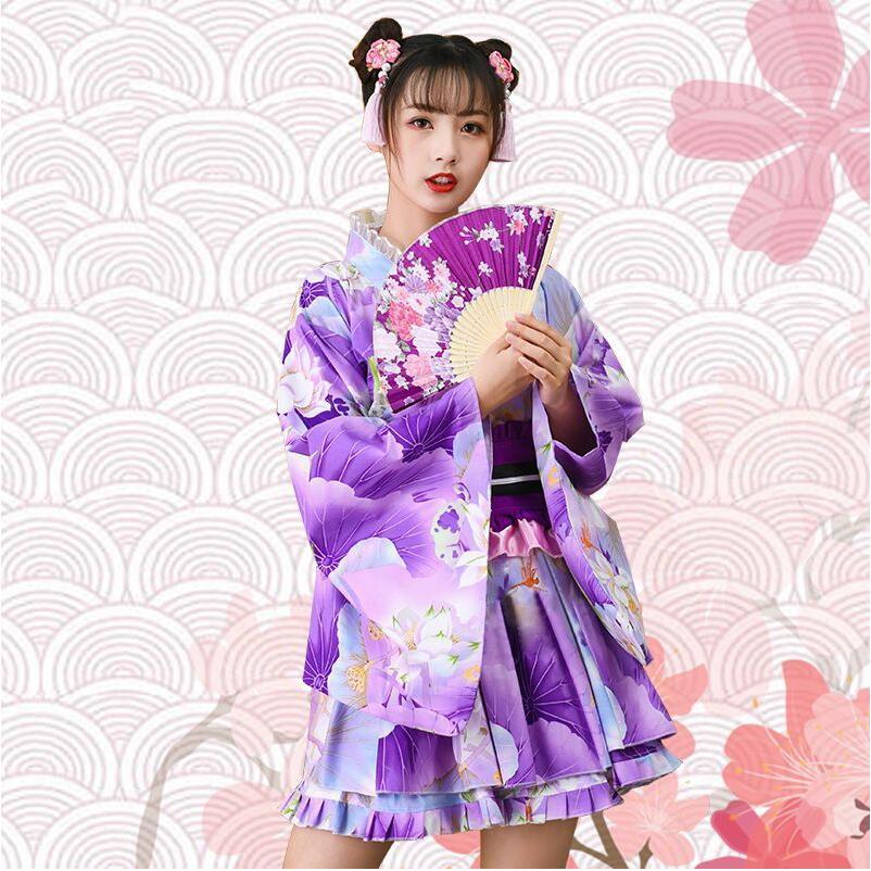 Roupa asiática yukata vestido de princesa menina quimono japonês mulher doce vestido adorável cosplay festa traje 2 peças conjunto