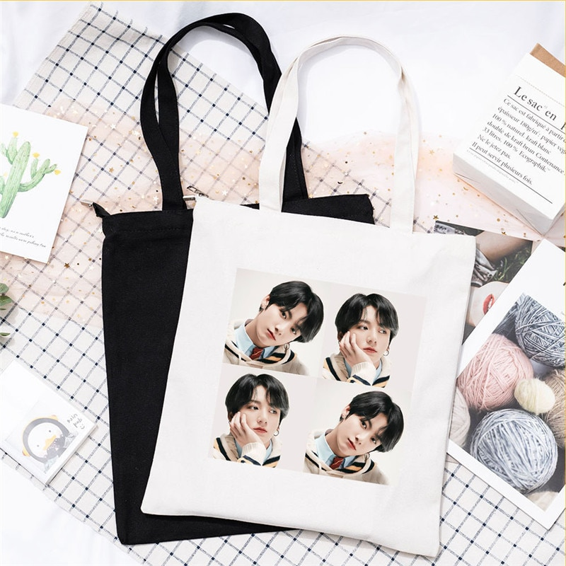 KPOP 1PCS Shoulder Bag Shopping Bag New Album Single Puzzle Printed Canvas Bag Bangtan Boys  BE  JIMIN JIN SUGA New Handbag Y9