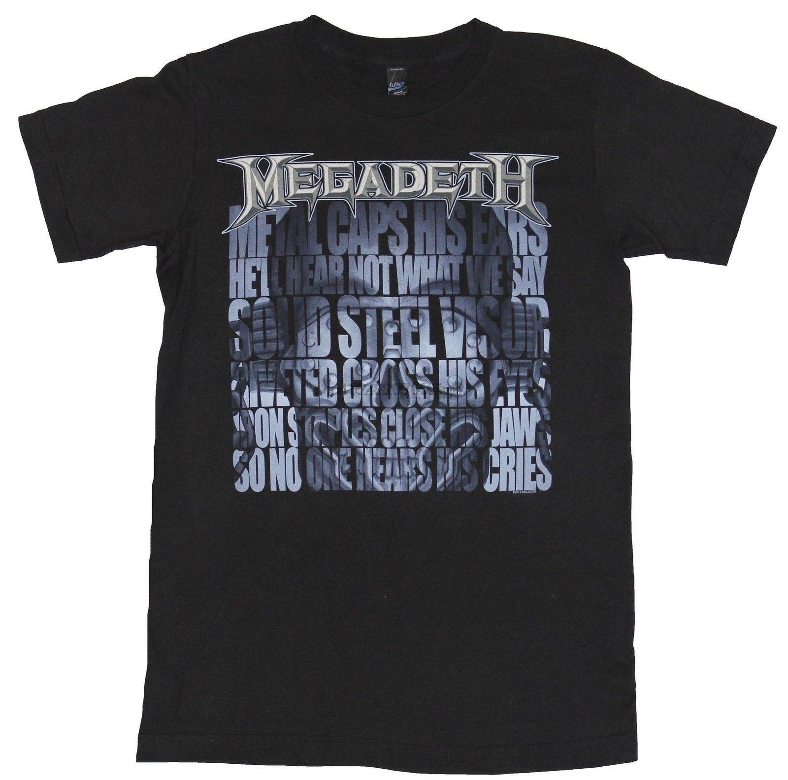 Megadeath para hombre camiseta-letras sobre auriculares Rocking imagen