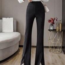 2021spring/Summer New Versatile Split Bell-Bottom Pants Wide Leg Slimming Suit Pants High Waist Droo
