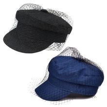 British Style Retro Denim Flat Beret Cap with Mesh Veil Women Girl Sun Protection Visor Button Painter Elegant Military Navy Hat