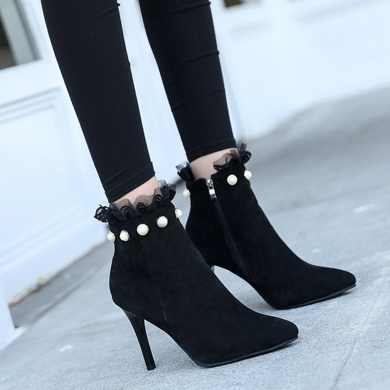 Women Pointed Toe Pearl Zip Ankle Boots Lace Pump Sexy Thin High Heels Female Autumn Winter Ladies Flock Elegant Martin Boots