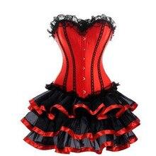 Women Sexy Corset Dress Gothic Victorian Steampunk Overbust Satin Plus Size Bustier Burlesque Costum