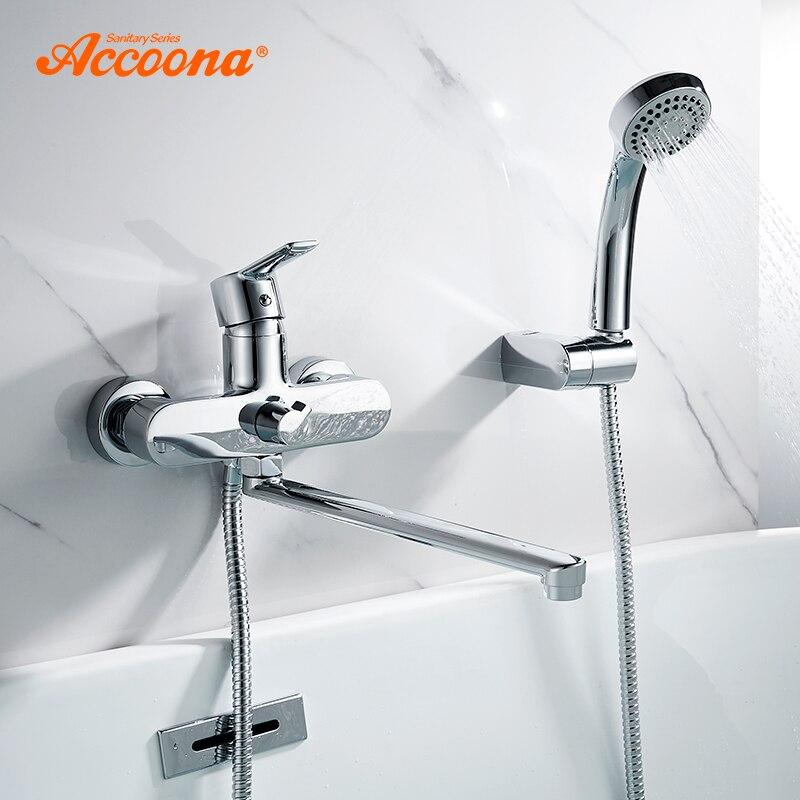 Accoona حوض استحمام للاستخدام في الحمام صنبور الماء الساخن والبارد أنبوب مخرج خلاط حمام مع دش رئيس الكروم حوض الاستحمام الحنفيات A7108