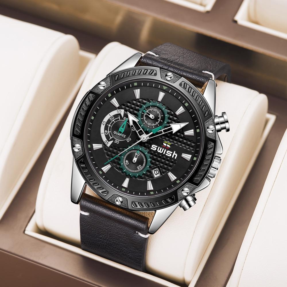 SWISH 2021 Latest Leather Quartz Watches Men Luxury Sports Chronograph Watch Waterproof Casual Business Wristwatches Male Reloj