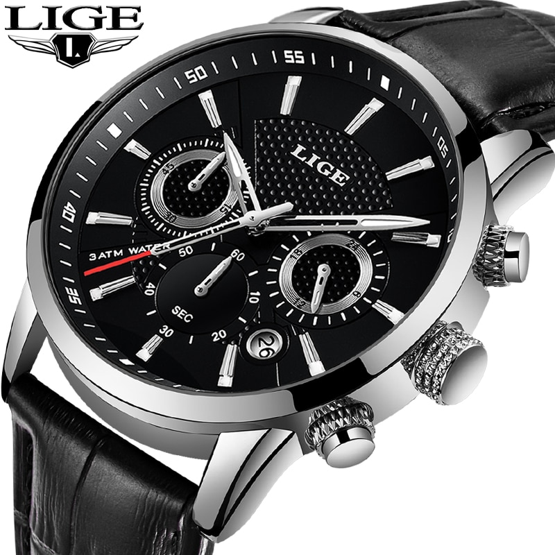 LIGE Fashion Mens Watches Top Brand Luxury Waterproof Military Chronograph Sport Quartz Wrist Watch Men Clock Male Reloj Hombre 2020 lige watches mens top brand luxury sport quartz chronograph stainless steel men watch fashion waterproof clock reloj hombre