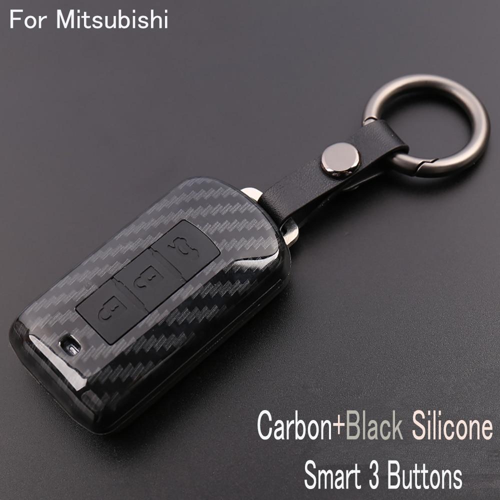 Hot Selling Carbon fiber ABS Remote Car  Key Cover Case for Mitsubishi Outlander/Wing gods/Lancer/10 Pajero Sport/ASX