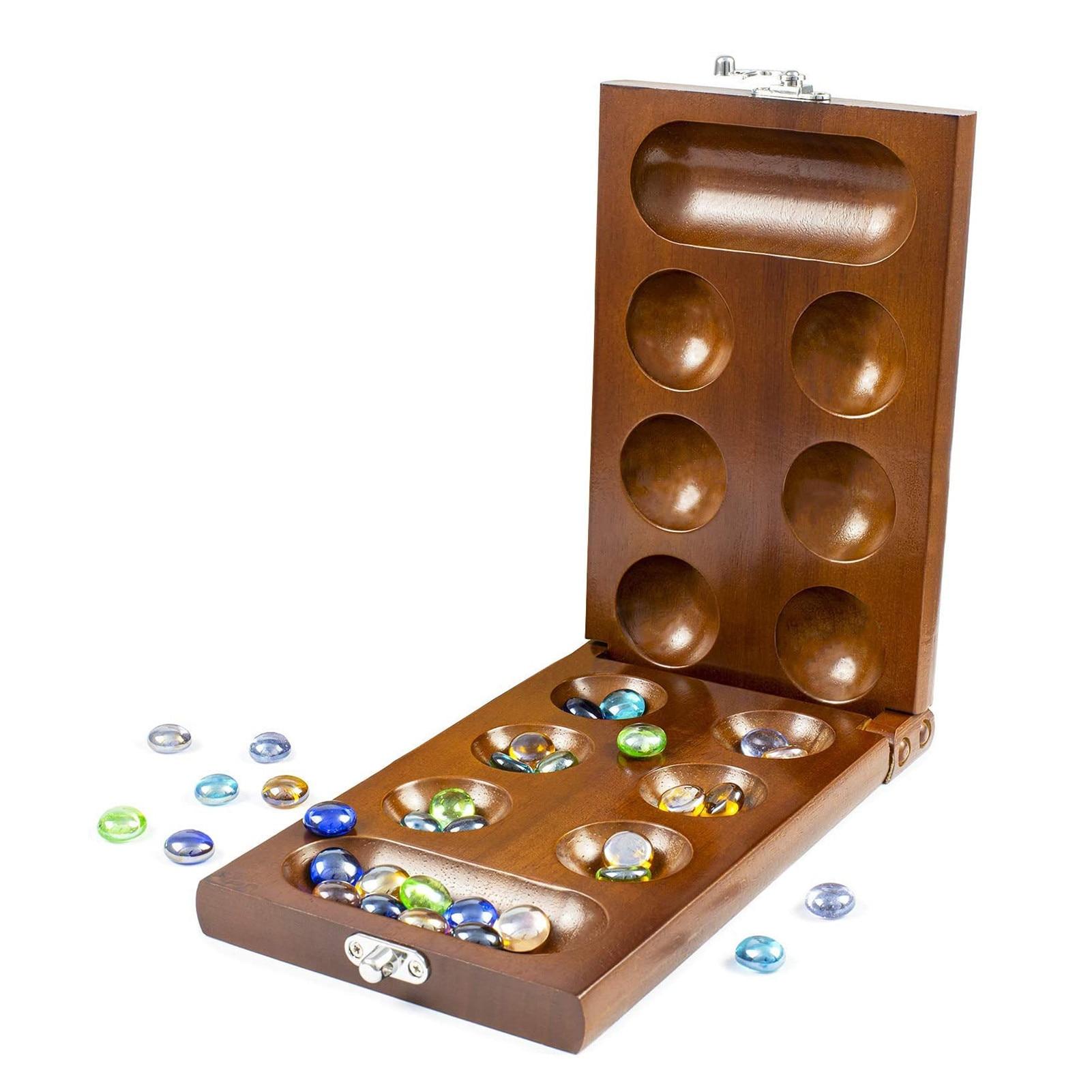 Mancala مجلس لعبة بالحجارة الصلبة الخشب بالغين أطفال لغز لعبة Mancala مجلس لعبة بالحجارة الصلبة الخشب بالغين أطفال لغز