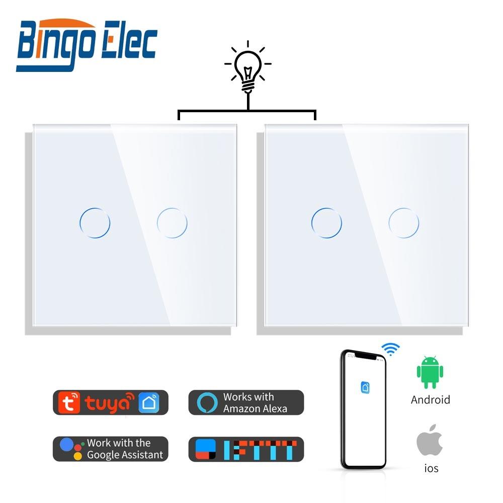 Bingobic 1/2/3 طريقة متعددة التحكم اللمس واي فاي مفتاح الإضاءة مفاتيح الذكية تويا اليكسا متوافق تحسين المنزل