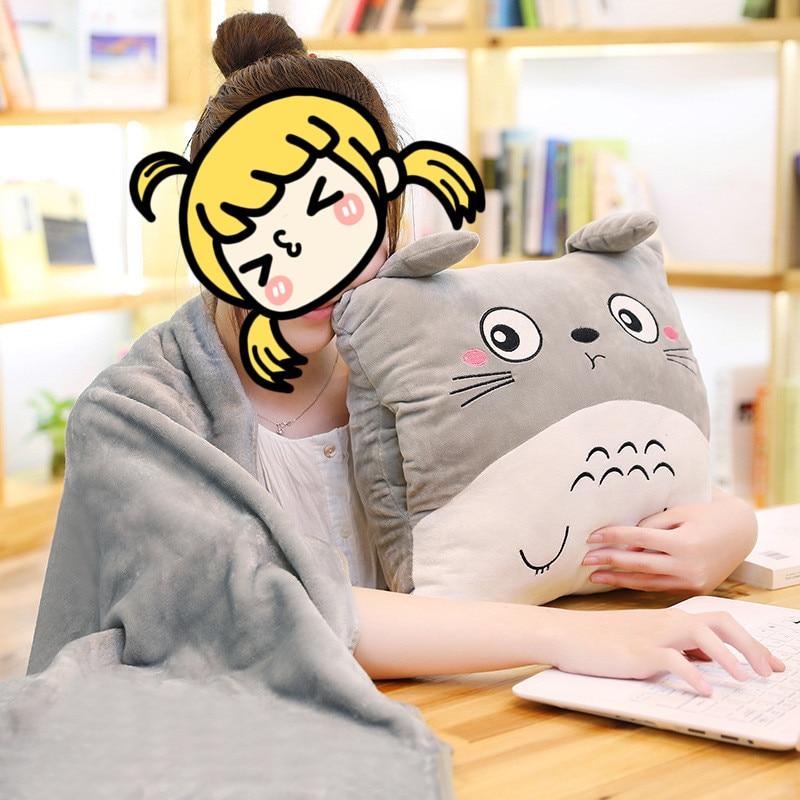1*1,6 m patrón Totoro manta cojín para silla oficina proteger Lumbar 35*35cm sofá cojín almohada Oficina almuerzo Manta