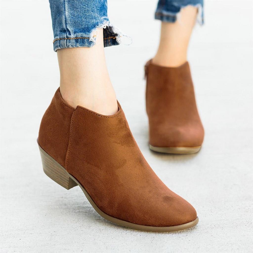 Botas de Couro de Leopardo Botas para Mulher Sapatos de Salto Feminino Moda Casual Roma Retro Curto Tornozelo Zíper Quadrado Mulher Chaussures