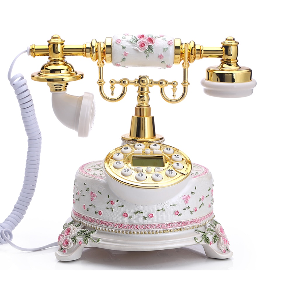 White Corded Telephone Antique Floral Home Telephone European Style Desktop Telephone for Decor Old Fashion Phones