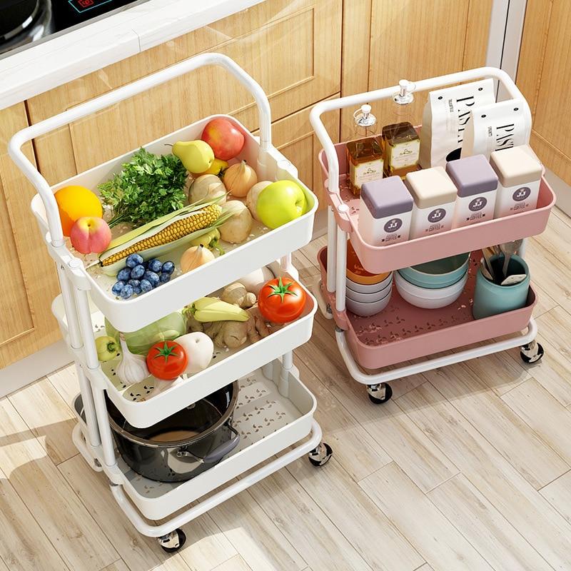 Rolling Trolley Cart Storage Rack Shelf with Mesh Basket / Handles / Wheels Organizer for Home Kitchen Laundry Bathroom Office