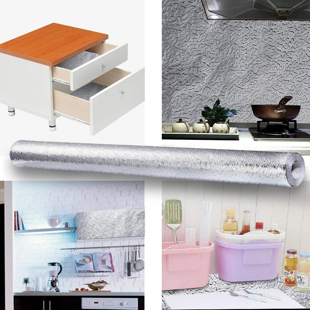 3M/5M/10M Aluminum Foil  kitchen wallpaper waterproof self adhesive wallpaper sticker adhesive paper for furniture