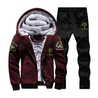 mens sports fleece thick hooded bronzing printed clothing casual mens jacket pants warm fleece lining winter sportswear