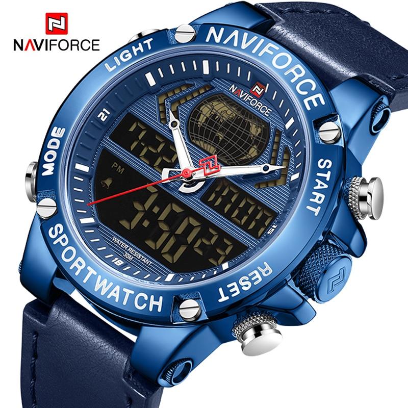 Top Brand NAVIFORCE Luxury Watches for Men Digital Sports Military Quartz Wrist Watch Male Leather Waterproof Clock Reloj Hombre