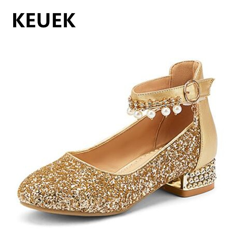 حذاء الأميرات الكريستالي الجديد للربيع والخريف للأطفال أحذية الرقص والحفلات الترتر للأطفال البنات أحذية عالية الكعب للأولاد الصغار 02C