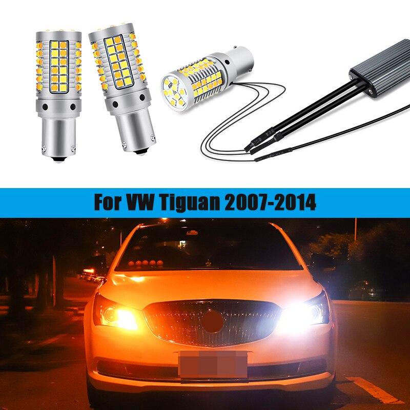 Pcs 1156 PY21W 2 Bau15s Para VW Tiguan 2007 2008 2009 2010 2011 2012 2013 2014 Acessórios LED Daytime Running Luz Turn Signal